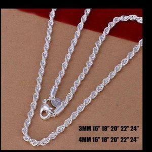 Jewelry - Gorgeous Diamond Cut .925 SS Rope Chain